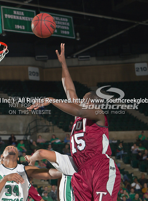 Troy Trojans guard Daronte Clark (15) in action during the game between the Troy Trojans and the University of North Texas Mean Green at the North Texas Coliseum,the Super Pit, in Denton, Texas. UNT defeats Troy 87 to 65.....