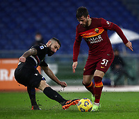 Football, Serie A: AS Roma - Sampdoria calcio, Olympic stadium, Rome, January 3, 2021. <br /> Roma's Carles Perez (r) in action with Sampdoria's Lorenzo Tonelli (l) during the Italian Serie A football match between Roma and Sampdoria at Rome's Olympic stadium, on January 3, 2021.  <br /> UPDATE IMAGES PRESS/Isabella Bonotto