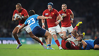Gaël Fickou of France dances past Enrico Bacchin of Italy during Match 5 of the Rugby World Cup 2015 between France and Italy - 19/09/2015 - Twickenham Stadium, London <br /> Mandatory Credit: Rob Munro/Stewart Communications