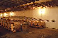 The barrel aging cellar at Chateau Caillou in Sauternes with tubes used for pumping wine suspended on the wall. Château Caillou, Barsac, Gironde, France, Sauternes, Bordeaux Gironde Aquitaine France Europe  Chateau Caillou, Grand Cru Classe, Barsac, Sauternes, Bordeaux, Aquitaine, Gironde, France, Europe