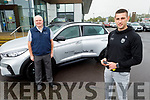 Kerry football star Paul Geaney receiving the keys to his new Hyundai from Noel O'Connor of Adams of Tralee on Monday morning.