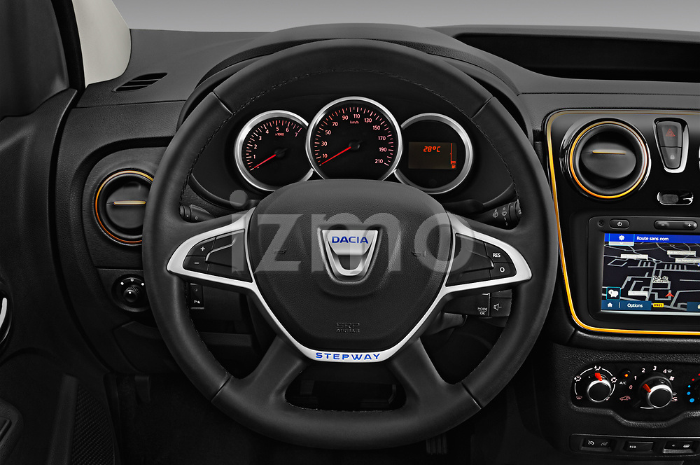 Car pictures of steering wheel view of a 2017 Dacia Lodgy Stepway 5 Door Mini Van