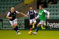 15th November 2020; Easter Road, Edinburgh, Scotland; Scottish League Cup Football, Hibernian versus Dundee FC; Stevie Mallan of Hibernian takes on Charlie Adam of Dundee