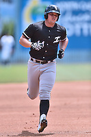 Kannapolis Intimidators first baseman Corey Zangari (14) runs to third during a game against the Asheville Touristsat McCormick Field on May 22, 2016 in Asheville, North Carolina. The Tourists defeated the Intimidators 8-4. (Tony Farlow/Four Seam Images)