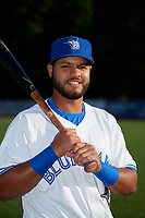 Bluefield Blue Jays Andres Guerra (17) poses for a photo before a game against the Bristol Pirates on July 26, 2018 at Bowen Field in Bluefield, Virginia.  Bristol defeated Bluefield 7-6.  (Mike Janes/Four Seam Images)