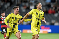 15th March 2021; Bankwest Stadium, Parramatta, New South Wales, Australia; A League Football, Western Sydney Wanderers versus Wellington Phoenix; Tomer Hemed of Wellington Phoenix celebrates as he scores from the penalty spot in the 64th minute to make it 3-2  and is congratulated by Cameron Devlin of Wellington Phoenix