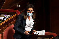 The senator of Fratelli d'Italia Daniela Santanche' during the information at the Senate about the government crisis.<br /> Rome(Italy), January 19th 2021<br /> Photo Pool Antonio Masiello/Insidefoto