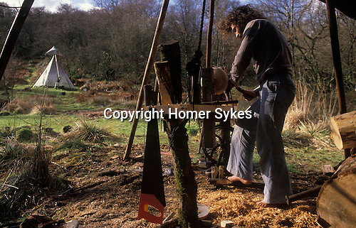 TeePee Valley near LLandeilo Wales UK. Alternative Life style Circa 1985.<br />