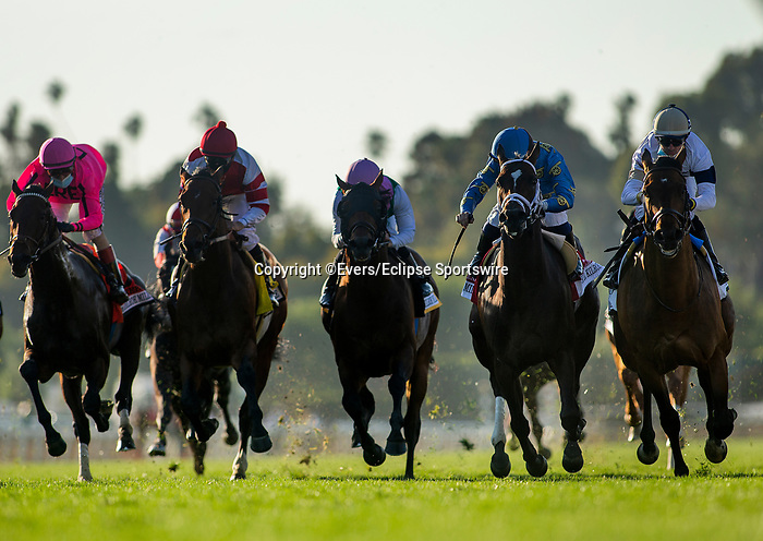 March 06, 2021: Hit the Road (inside) with Florent Geroux beats Smooth Like Strait and Umberto Rispoli to win the Kilroe Mile at Santa Anita Park in Arcadia, California on March 06, 2021. Evers/Eclipse Sportswire/CSM