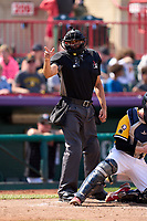 Umpire Gabriel Alfonzo calls a strike during a game between the Harrisburg Senators and Erie Seawolves on September 5, 2021 at UPMC Park in Erie, Pennsylvania.  (Mike Janes/Four Seam Images)
