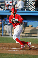 June 19, 2009:  Shortstop Ryan Jackson of the Batavia Muckdogs at bat during a game at Dwyer Stadium in Batavia, NY.  The Muckdogs are the NY-Penn League Short-Season Class-A affiliate of the St. Louis Cardinals.  Photo by:  Mike Janes/Four Seam Images