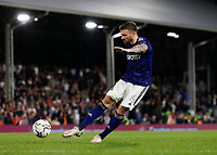 21st September 2021; Craven Cottage, Fulham, London, England; EFL Cup Football Fulham versus Leeds; Stuart Dallas of Leeds United taking a penalty during the penalty shootout