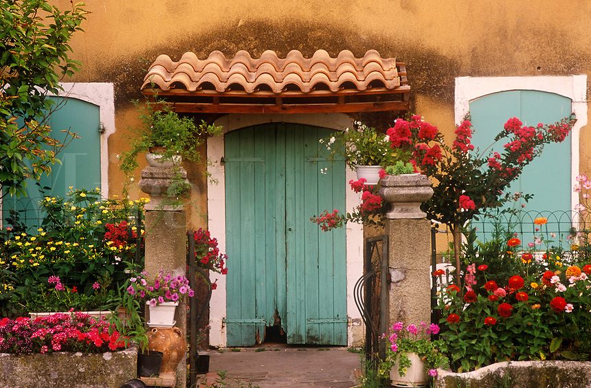Garden in front of rural cottage near the village of Lussan, Provence, France