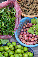 Cambodia.  Market near Siem Reap.  Fruits and Vegetables for Sale.