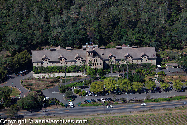 aerial photograph The Culinary Institute of America at Greystone, St. Helena, Napa County, California