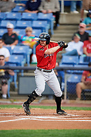 Erie SeaWolves second baseman Will Maddox (31) at bat during a game against the Binghamton Rumble Ponies on May 14, 2018 at NYSEG Stadium in Binghamton, New York.  Binghamton defeated Erie 6-5.  (Mike Janes/Four Seam Images)