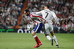 Real Madrid's Jese Rodriguez (L) and Atletico del Madrid´s Griezmann during quarterfinal second leg Champions League soccer match at Santiago Bernabeu stadium in Madrid, Spain. April 22, 2015. (ALTERPHOTOS/Victor Blanco)