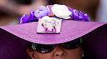 ELMONT, NY - JUNE 11: A woman with a horse figurine on her hat looks on while in the paddock area before the start of racing on Belmont Stakes Day on June 11, 2016 in Elmont, New York. (Photo by Scott Serio/Eclipse Sportswire/Getty Images)