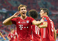 Budapest, Hungary, 24th September 2020. Leon GORETZKA, FCB 18 scores, shoots goal for , Tor, Treffer, 1-1, celebrates his goal, happy, laugh, celebration, Robert LEWANDOWSKI, FCB 9 Leroy SANE, FCB 10 in the Final UEFA Supercup match FC BAYERN MUENCHEN - FC SEVILLA 2-1 in Season 2019/2020, FCB, Munich,<br /> Supercoppa Europea Bayern Monaco Siviglia <br /> Photo Imago/Insidefoto
