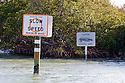 North America, USA, Florida, Gasparilla Sound. Manatee warning signs on waterway in Florida.