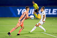 CARSON, CA - SEPTEMBER 06: Pablo Sisniega #23 of the Los Angeles Galaxy with a save during a game between Los Angeles FC and Los Angeles Galaxy at Dignity Health Sports Park on September 06, 2020 in Carson, California.