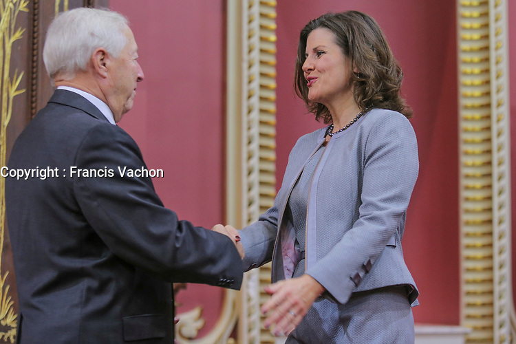 Stephanie Vallee is sworn in as Ministre de la Justice (Minister of Justice) of the new Liberal cabinet at the National Assembly in Quebec city October 11, 2017.<br /> <br /> PHOTO :  Francis Vachon - Agence Quebec Presse