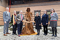 "Pictured: (L-R) Martin Thomas ABMU Heritage Lead, Phil Thimbleby, Arts Health co-ordinator, Andrew davies ABMU Chairman, artist Sarah Tombs, Fiona Edwards and Heather Parnell, both ABMU Arts and Health team. Monday 05 February 2018<br /> Re: A sculpture has been unveiled at Welsh Centre for Burns and Plastic Surgery in Morriston Hospital to commemorate its links with Port Talbot steelworks in Wales, UK.<br /> It was inspired by Welsh mythology and created from Tata steel by artist Sarah Tombs.<br /> The sculpture is of the legendary Lady of Llyn y Fan Fach and was unveiled by Abertawe Bro Morgannwg health board to mark the 70th birthday of the NHS.<br /> According to the Mabinogion and The Red Book of Hergest, she was mother of the Physicians of Myddfai, who used magical powers to heal the sick and symbolises ""regeneration and healing""."