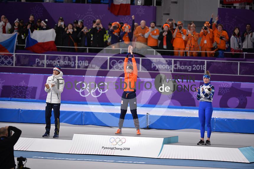 OLYMPIC GAMES: PYEONGCHANG: 16-02-2018, Gangneung Oval, Long Track, 5.000m Ladies, Final results, Martina Sabliková (CZE), Esmee Visser (NED), Natalya Voronina (OAR), ©photo Martin de Jong