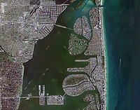aerial photo map of the intercoastal waterway and Miami beach shoreline, North Bay Village, Harbor Island, Treasure Island, Indian Creek Lake and Biscayne Point, Miami Beach, Florida