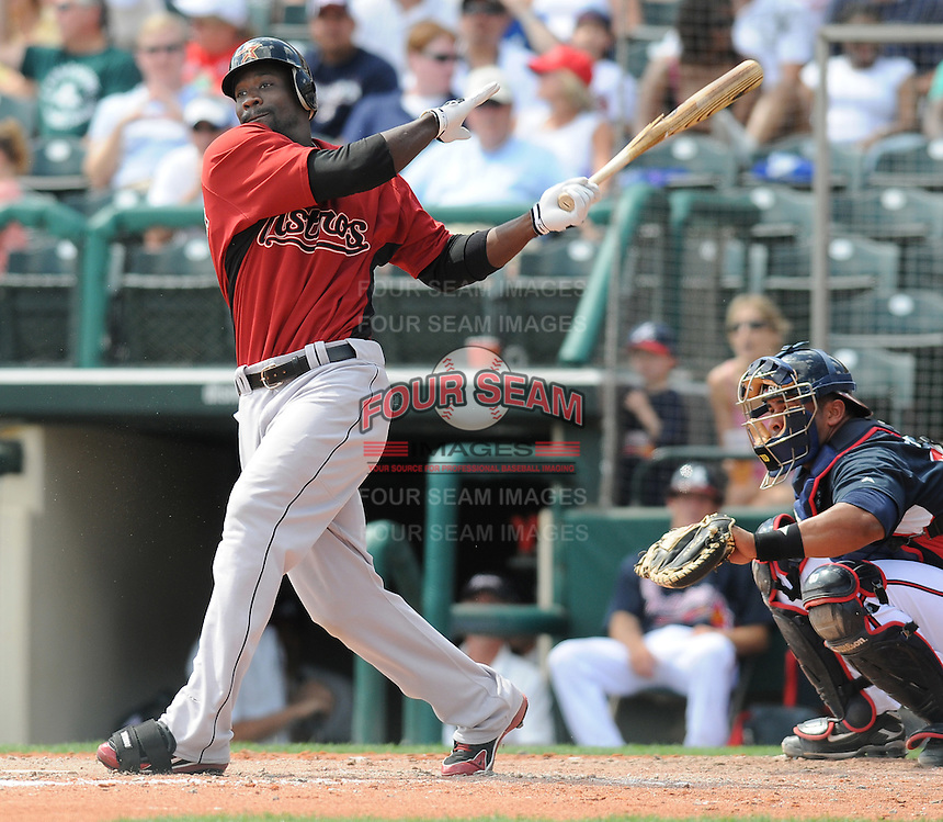 15 March 2009: Reggie Abercrombie of the Houston Astros hits during a game against the Atlanta Braves at the Braves' Spring Training camp at Disney's Wide World of Sports in Lake Buena Vista, Fla. Photo by:  Tom Priddy/Four Seam Images