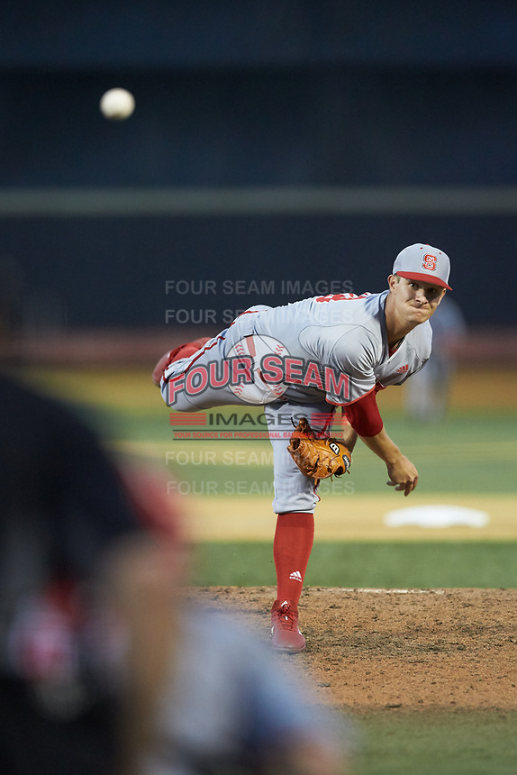 North Carolina State Wolfpack relief pitcher Nolan Clenney (39) in action against the Wake Forest Demon Deacons at David F. Couch Ballpark on April 18, 2019 in  Winston-Salem, North Carolina. The Demon Deacons defeated the Wolfpack 7-3. (Brian Westerholt/Four Seam Images)