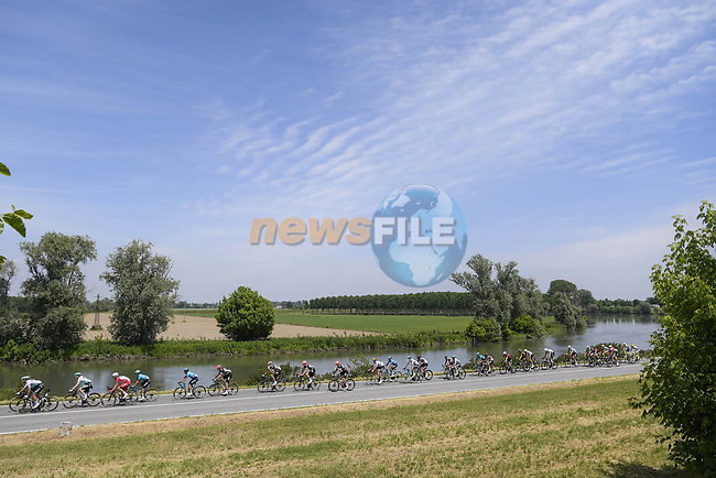 The peloton pass through the Po Valley during Stage 18 of the 2021 Giro d'Italia, running 231km from Rovereto to Stradella, Italy. 27th May 2021.  <br /> Picture: LaPresse/Fabio Ferrari | Cyclefile<br /> <br /> All photos usage must carry mandatory copyright credit (© Cyclefile | LaPresse/Fabio Ferrari)