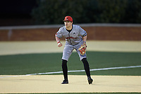 Louisville Cardinals third baseman Andrew Benefield (2) on defense against the Wake Forest Demon Deacons at David F. Couch Ballpark on March 7, 2020 in  Winston-Salem, North Carolina. The Demon Deacons defeated the Cardinals 3-2. (Brian Westerholt/Four Seam Images)