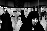Teheran, Iran, April 12, 2007.A wedding dress shop on Ferdosi avenue..