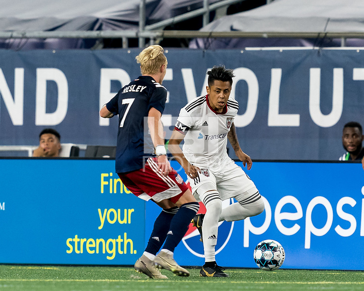 FOXBOROUGH, MA - SEPTEMBER 09: Alexi Jaimes #6 of Chattanooga Red Wolves SC looks to pass during a game between Chattanooga Red Wolves SC and New England Revolution II at Gillette Stadium on September 09, 2020 in Foxborough, Massachusetts.