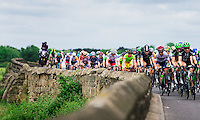 Picture by Alex Whitehead/SWpix.com - 18/06/2016 - Cycling - Aviva Women's Tour - Stage 4, Nottingham to Stoke-on-Trent - The peloton in action on Swarkestone Causeway.