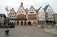 Frankfurt: The Romer, Romerberg. Medieval building used as city hall for 600 years. Remodeled over time. Photo '87.