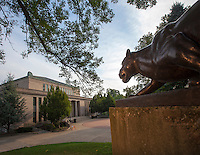 The Lafayette Leopard keeps watch over Oechsle Hall at Lafayette College....Ken White / Zovko Photographic  LLC.August 8, 2012