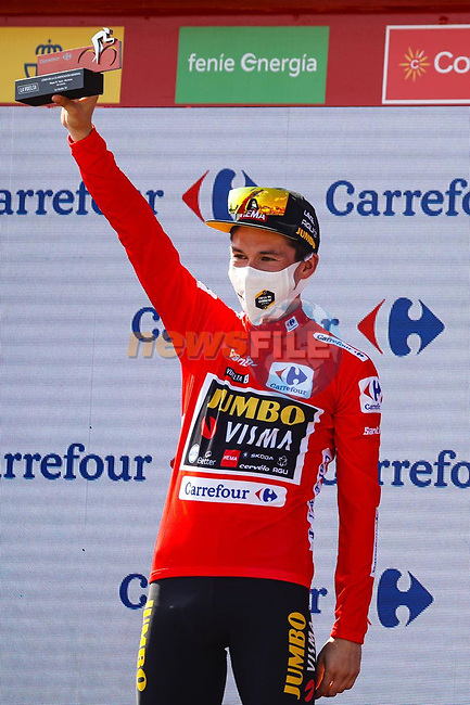 Primoz Roglic (SLO) Jumbo-Visma retains the leaders Red Jersey at the end of Stage 19 of La Vuelta d'Espana 2021, running 191.2km from Tapia de Casariego to Monforte de Lemos, Spain. 3rd September 2021.    <br /> Picture: Luis Angel Gomez/Photogomezsport | Cyclefile<br /> <br /> All photos usage must carry mandatory copyright credit (© Cyclefile | Luis Angel Gomez/Photogomezsport)