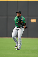Down East Wood Ducks right fielder Yanio Perez (44) during a Carolina League game against the Fayetteville Woodpeckers on August 13, 2019 at SEGRA Stadium in Fayetteville, North Carolina.  Fayetteville defeated Down East 5-3.  (Mike Janes/Four Seam Images)