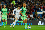 Fede Valverde  of Real Madrid and Martin Braithwaite  of CD Leganes during La Liga match between Real Madrid and CD Leganes at Santiago Bernabeu Stadium in Madrid, Spain. October 30, 2019. (ALTERPHOTOS/A. Perez Meca)