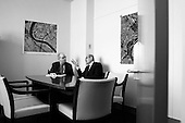 New York, New York.USA.March 7, 2003..Chief UN weapons inspector Dr. Hans Blix meets in his UN office with Dr. Mohamed ElBaradei, the director of the International Atomic Energy Agency, just one hour before addressing the United Nations Security Council meets on the crisis in Iraq.