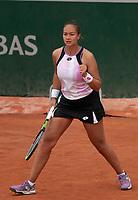 Paris, France, 2 june 2021, Tennis, French Open, Roland Garros, Womans doubles First round : Lesley Pattina-Kerkhove (NED) <br /> Photo: tennisimages.com