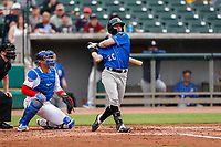 Biloxi Shuckers second baseman Tyler Friis (20) at bat against the Tennessee Smokies on May 18, 2021, at Smokies Stadium in Kodak, Tennessee. (Danny Parker/Four Seam Images)