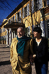 Bernard Buffet French artist expressionist painter (1928-1999) France Circa 1995. With wife Annabel Schwob at their home in Tourtour Provence France. 1994.