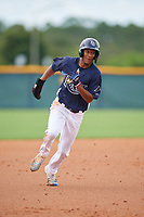 GCL Rays Zach Huffins (9) running the bases during a Gulf Coast League game against the GCL Pirates on August 7, 2019 at Charlotte Sports Park in Port Charlotte, Florida.  GCL Rays defeated the GCL Pirates 5-3 in the second game of a doubleheader.  (Mike Janes/Four Seam Images)