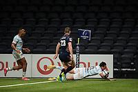 4th April 2021; Paris La Défense Arena, Nanterre, Paris, France; European Champions Cup Rugby, Racing 92 versus Edinburgh;   F Trinh Duc ( 22 - Racing ) goes over to score his try