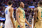 Mar. 28, 2015; Bonzie Colson (35) reacts after a basket and foul in the first half of the 2015 NCAA Tournament regional final against Kentucky. (Photo by Matt Cashore/University of Notre Dame)