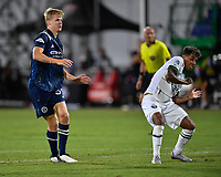 LAKE BUENA VISTA, FL - AUGUST 01: Keaton Parks #55 of New York City FC watches his shot get past the outstretched leg of Andy Polo #7 of the Portland Timbers during a game between Portland Timbers and New York City FC at ESPN Wide World of Sports on August 01, 2020 in Lake Buena Vista, Florida.