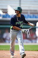 Vermont Lake Monsters left fielder Luis Barrera (16) tosses his bat after being walked during a game against the Auburn Doubledays on July 13, 2016 at Falcon Park in Auburn, New York.  Auburn defeated Vermont 8-4.  (Mike Janes/Four Seam Images)